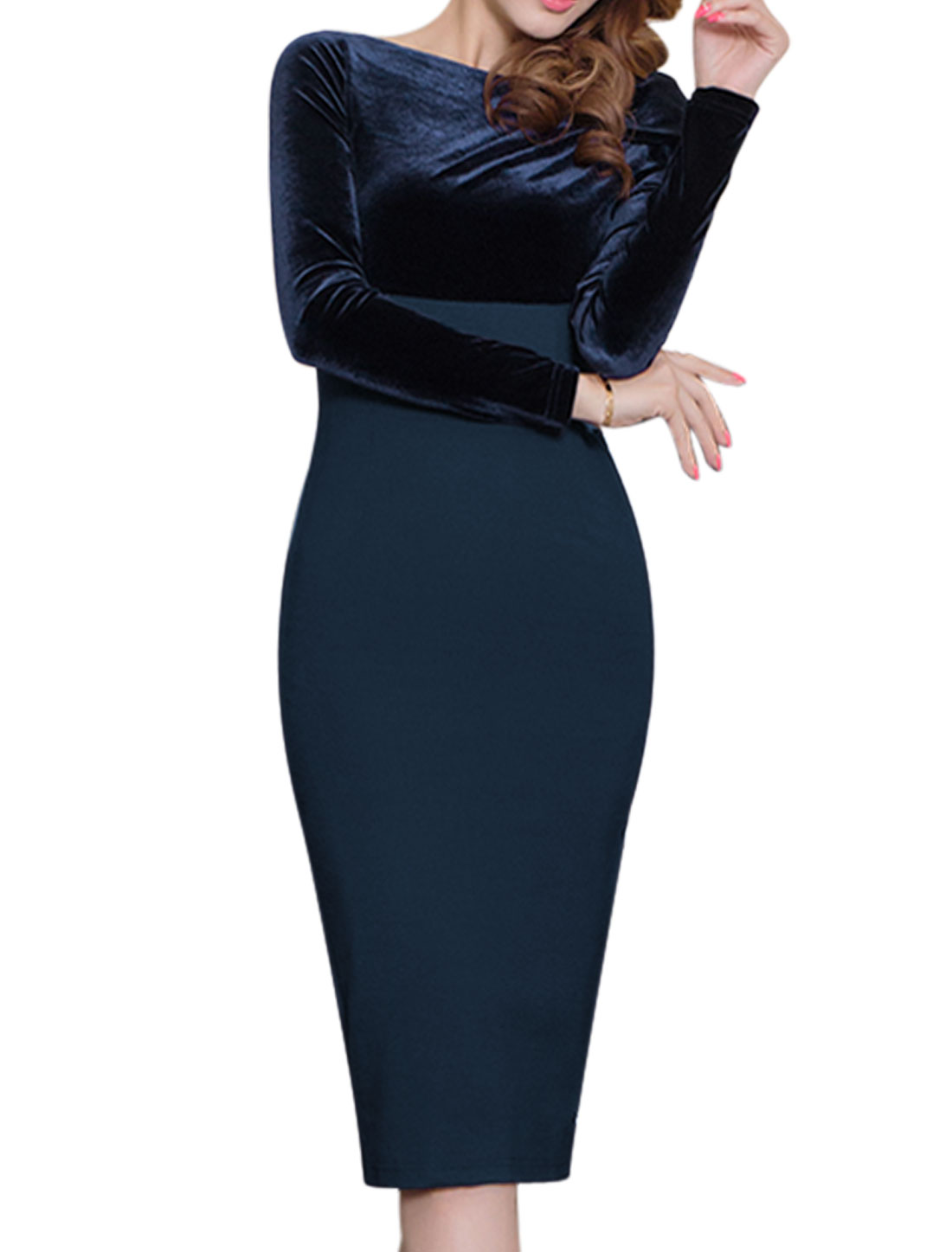 Ladies Boat Neck Bowknot Velvet Panel Pencil Dress Blue S