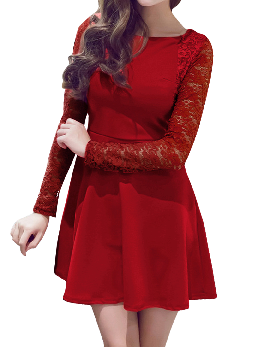 Women Long Sleeves Lace Panel Fit and Flare Dress Red S
