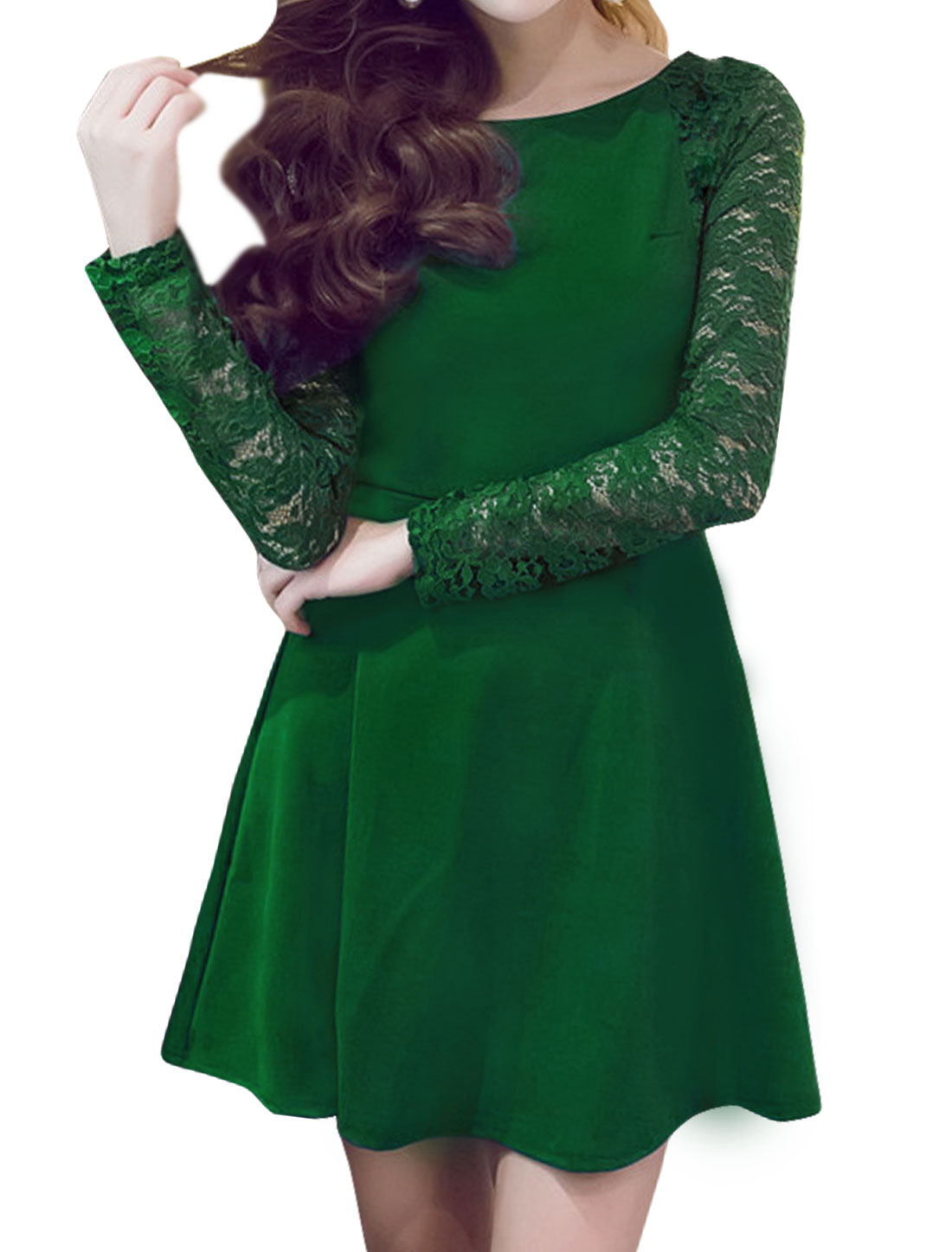 Women Long Sleeves Lace Panel Fit and Flare Dress Green S