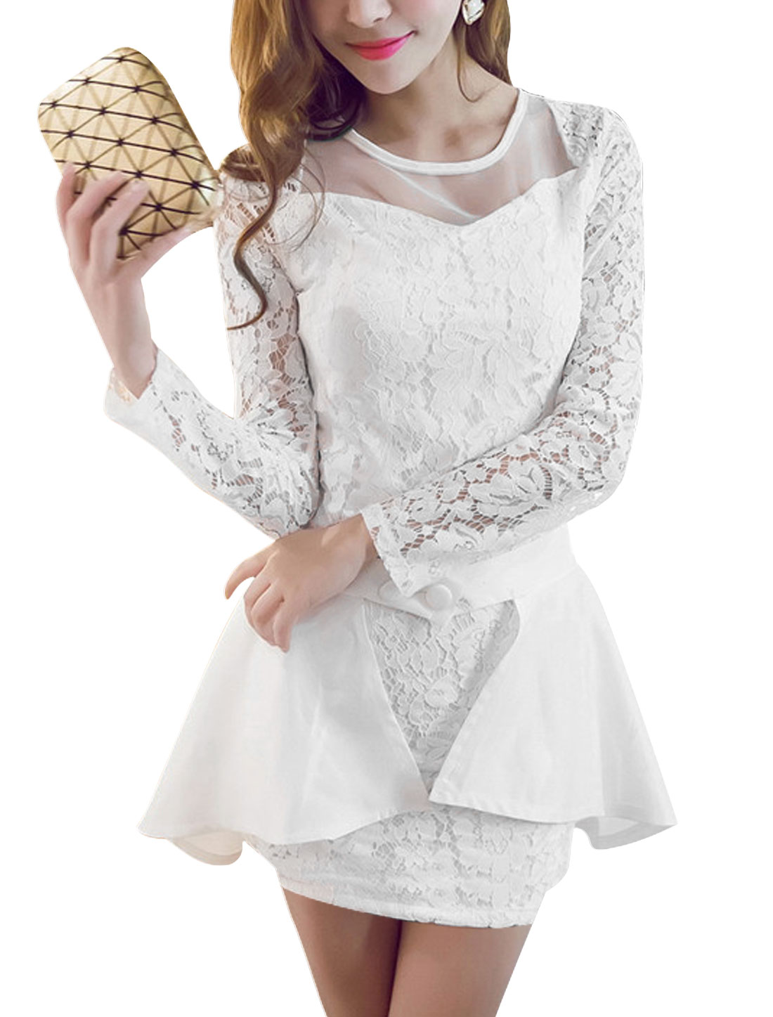 Women Long Sleeves Lace Sheath Dress w Detachable Overlay White M