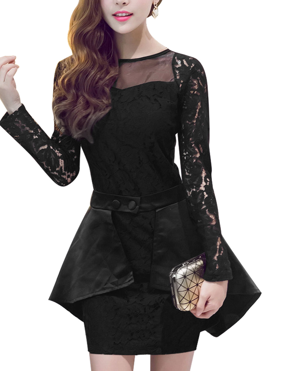 Women Long Sleeves Lace Sheath Dress w Detachable Overlay Black M