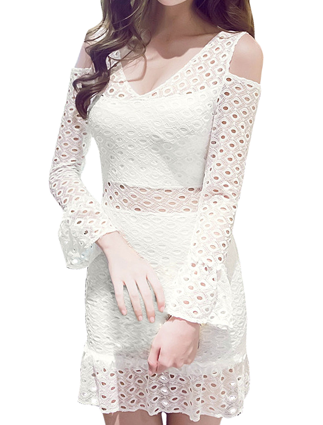 Women Cut Out Shoulder Hollow Out Bodycon Dress White XS