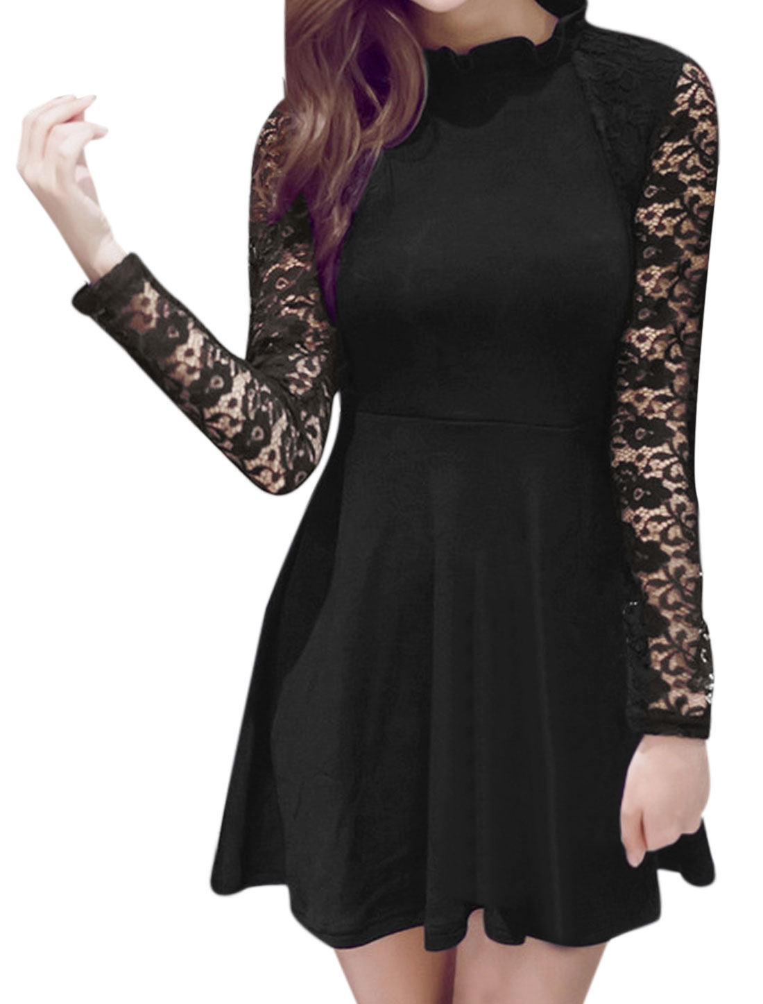 Ladies Ruffled Collar Fit and Flare Lace Dress Black S