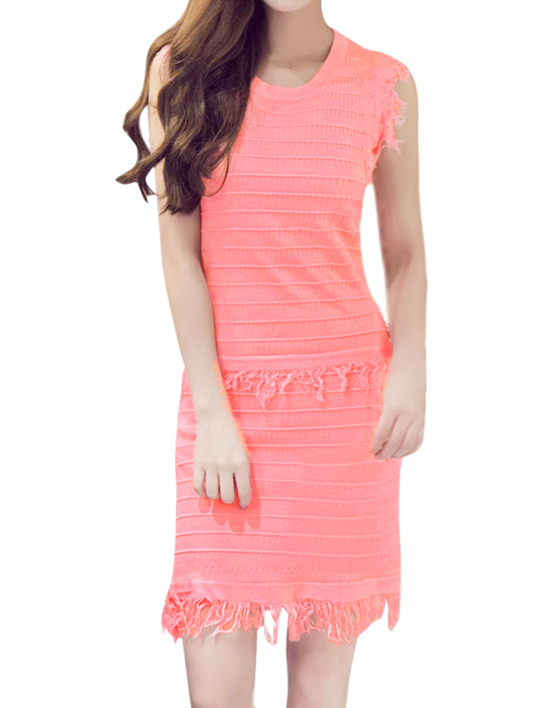 Lady Stripes Design Knitted Fringed Sheath Dress Pink XS