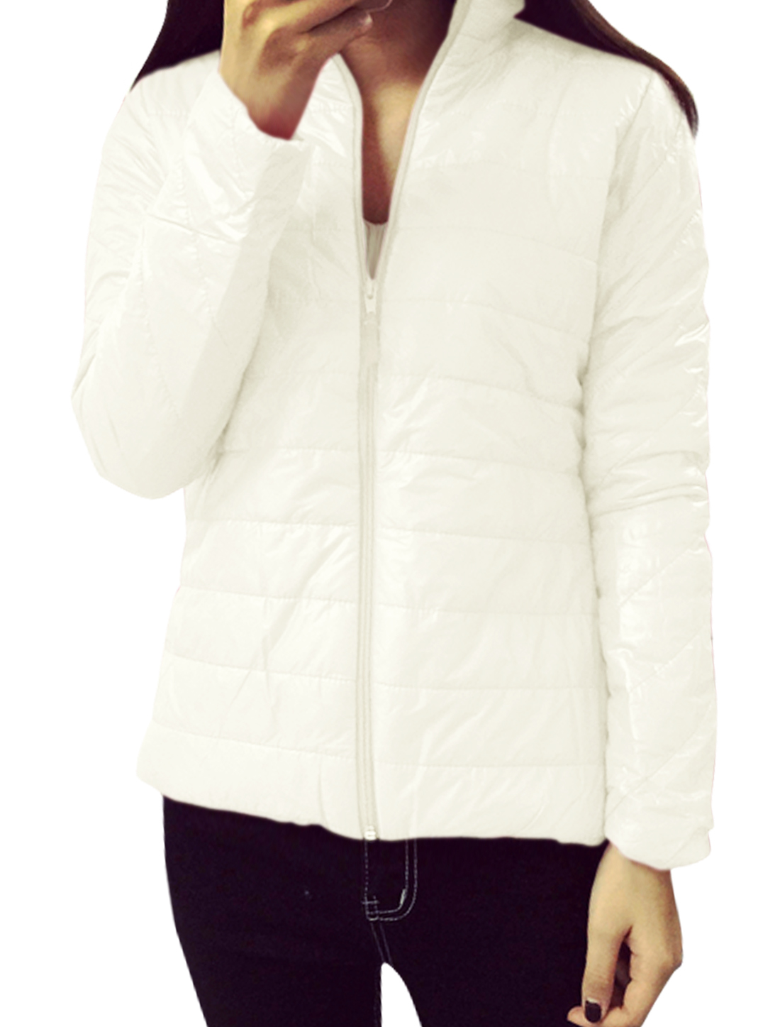Women Collared Zip Up Quilted Slim Fit Padded Coat White XS