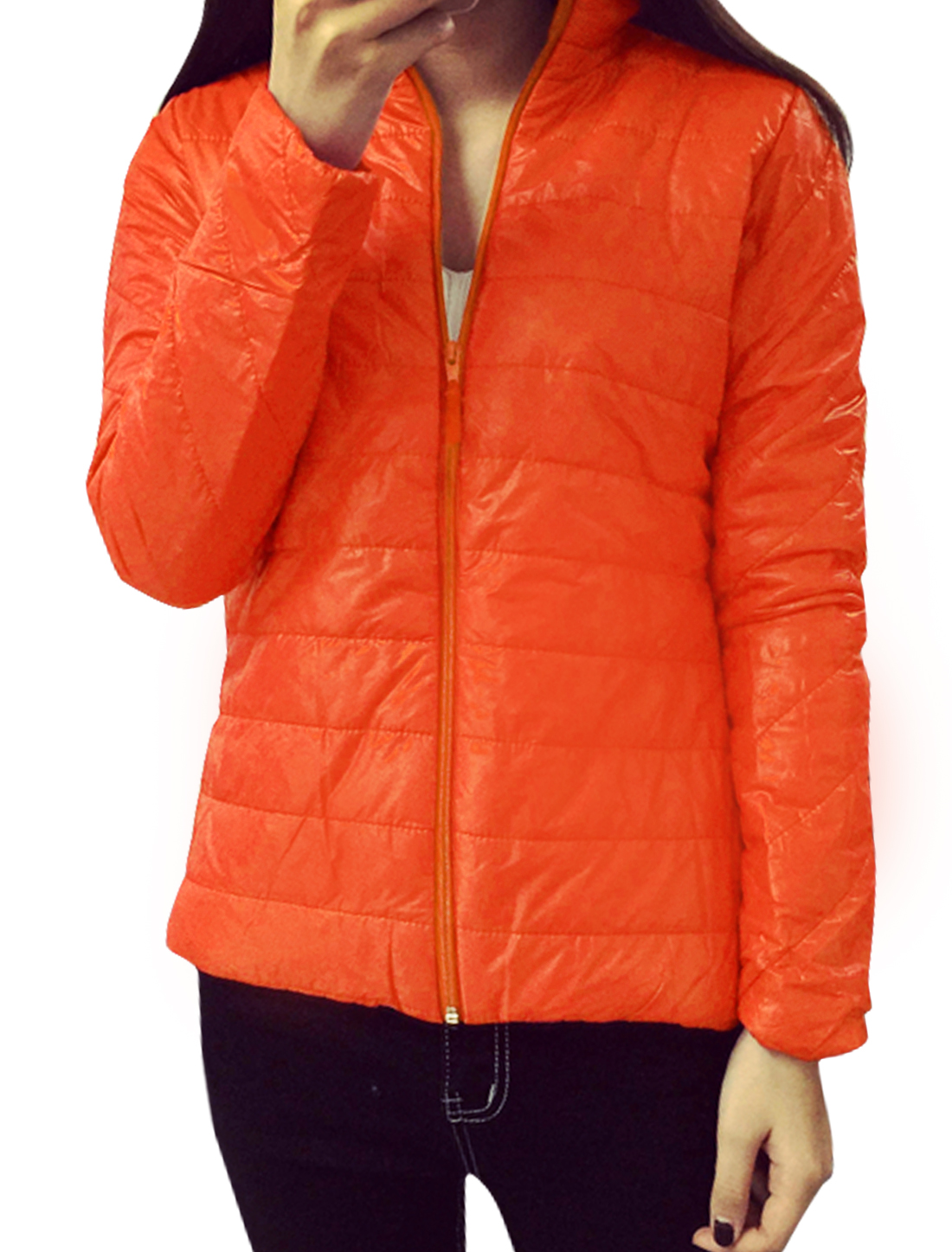 Women Collared Zip Up Quilted Slim Fit Padded Coat Orange XS