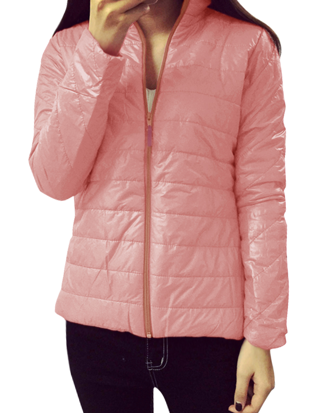 Women Collared Zip Up Quilted Slim Fit Padded Coat Pink XS