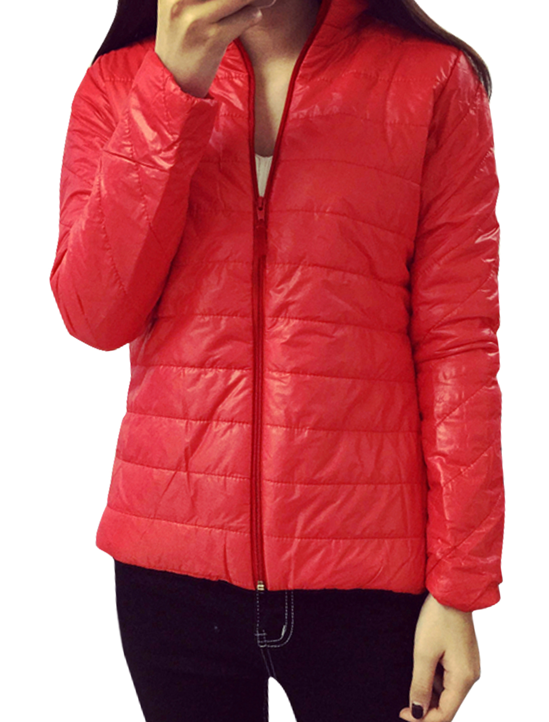 Women Collared Zip Up Quilted Slim Fit Padded Coat Red XS