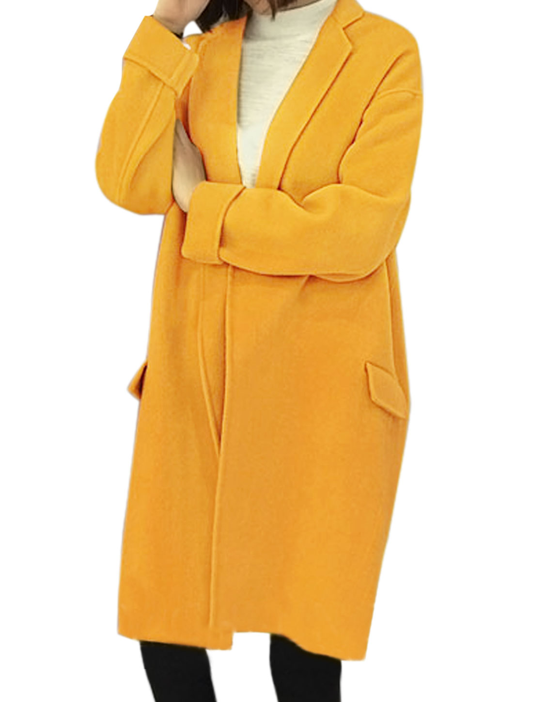 Lady Collared Open Front Tunic Worsted Coat Yellow XS