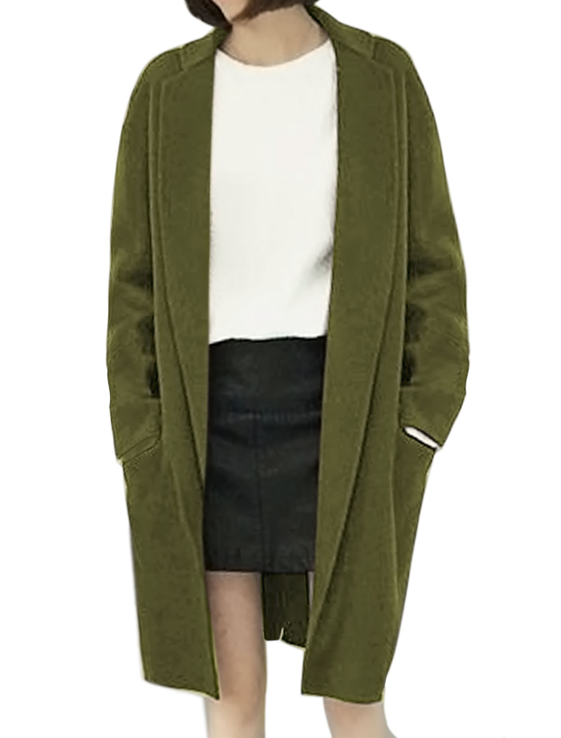 Lady Collared Open Front Tunic Worsted Coat Green XS