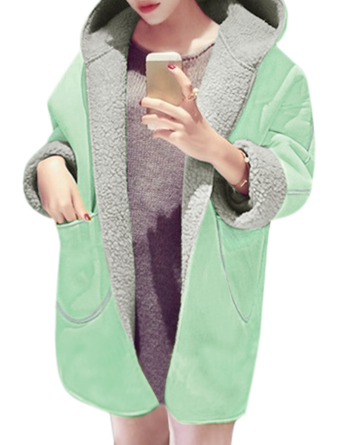 Women Loose Plush Lined Hooded Tunic Coat Green XS
