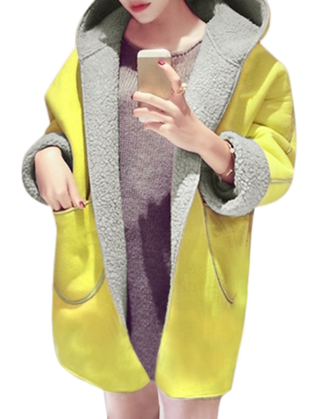 Women Loose Plush Lined Hooded Tunic Coat Yellow XS