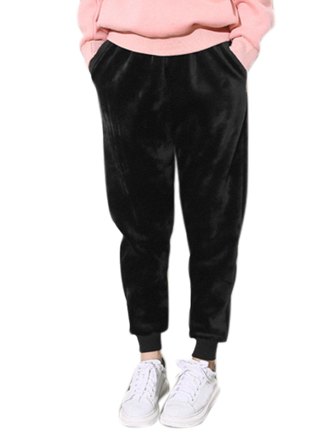 Women Drawstring Fleece Tapered Sweatpants Black XS
