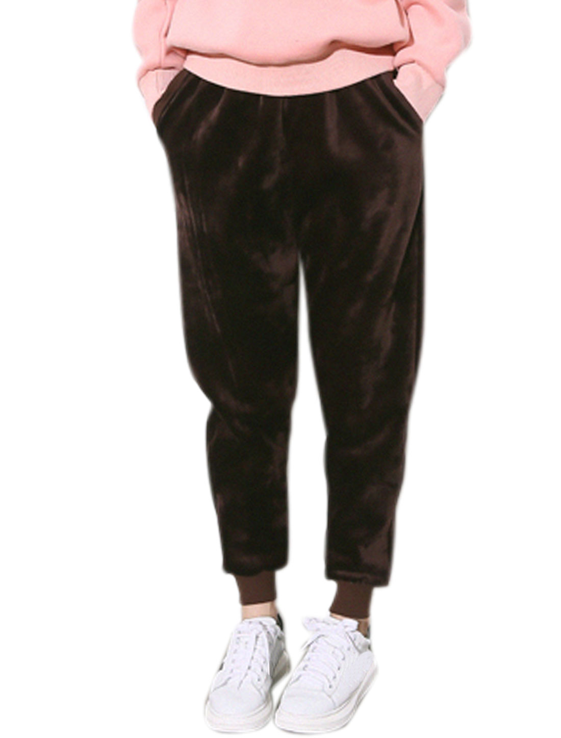Women Drawstring Fleece Tapered Sweatpants Brown XS