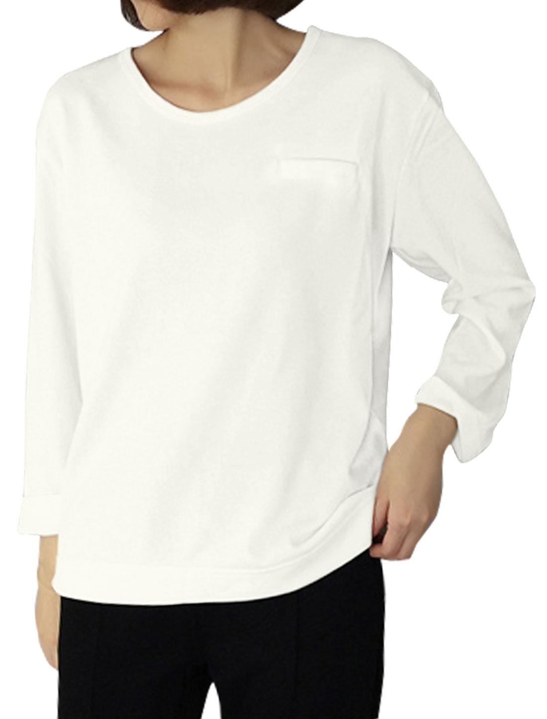 Ladies Mock Pocket Long Sleeves Loose Knit Shirt White XS