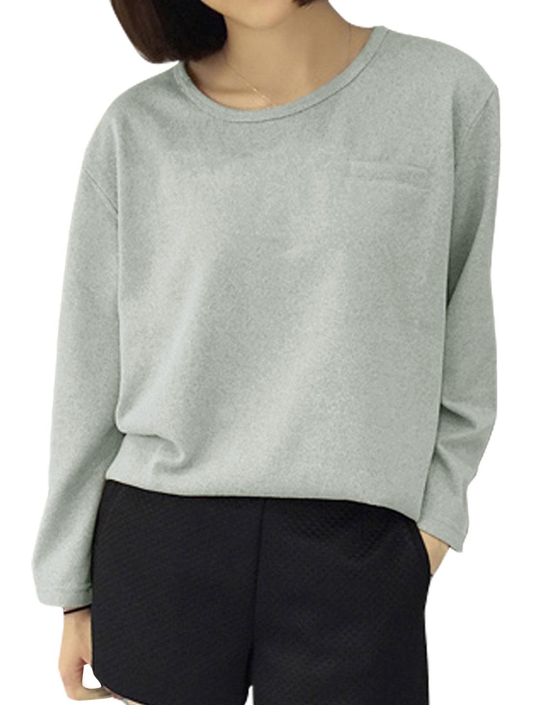 Ladies Mock Pocket Long Sleeves Loose Knit Shirt Gray XS