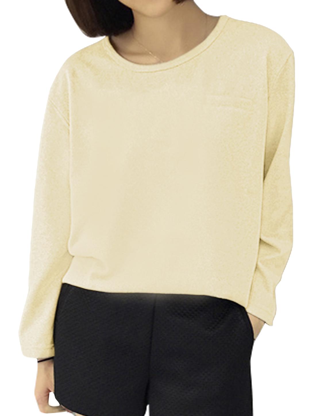 Ladies Mock Pocket Long Sleeves Loose Knit Shirt Beige XS
