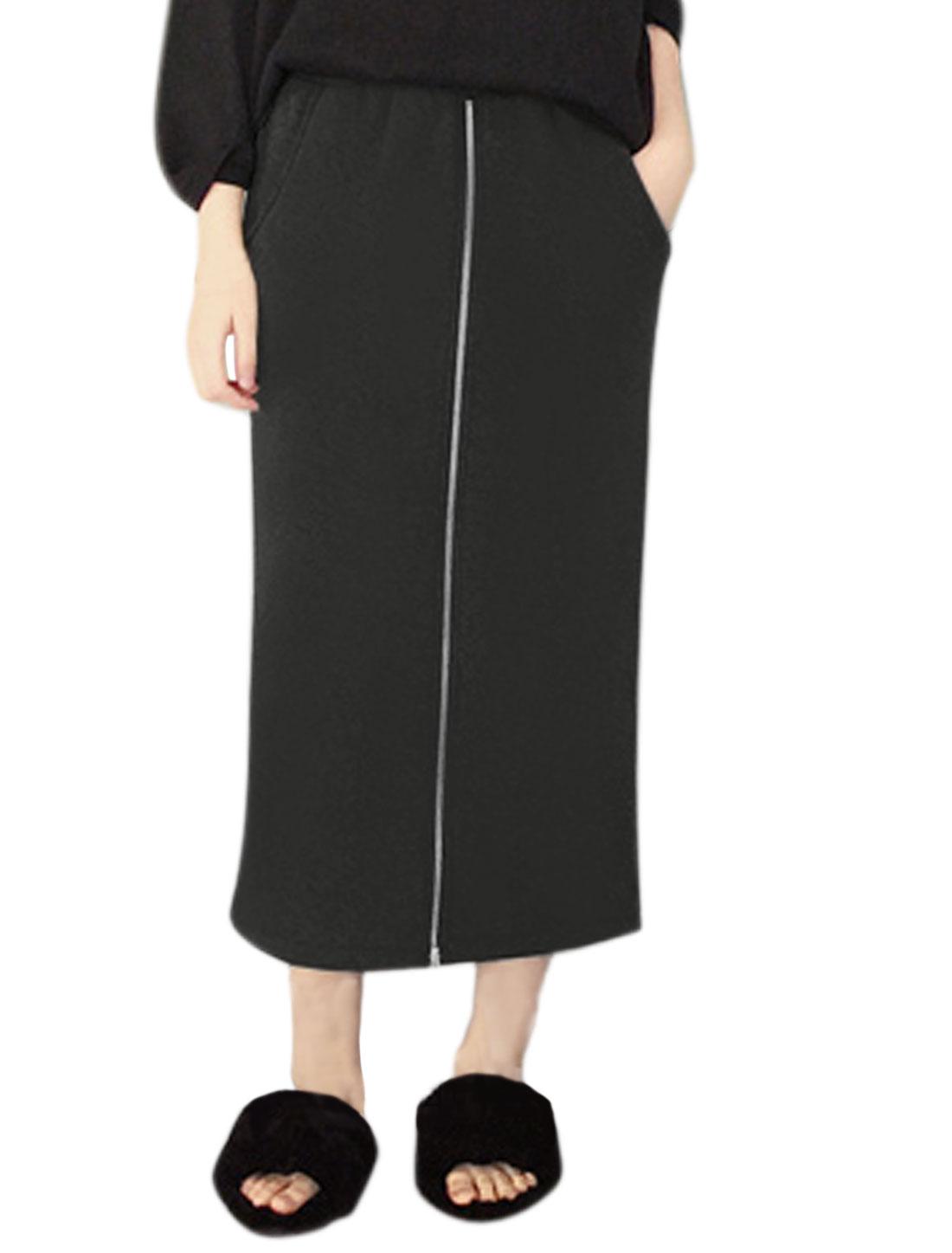 Women Zipper Front Soft Lined Straight Midi Skirt Black XS