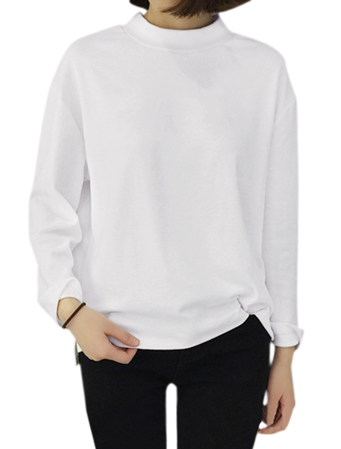 Ladies Long Sleeves Stand Collar Loose Tee Shirt White S
