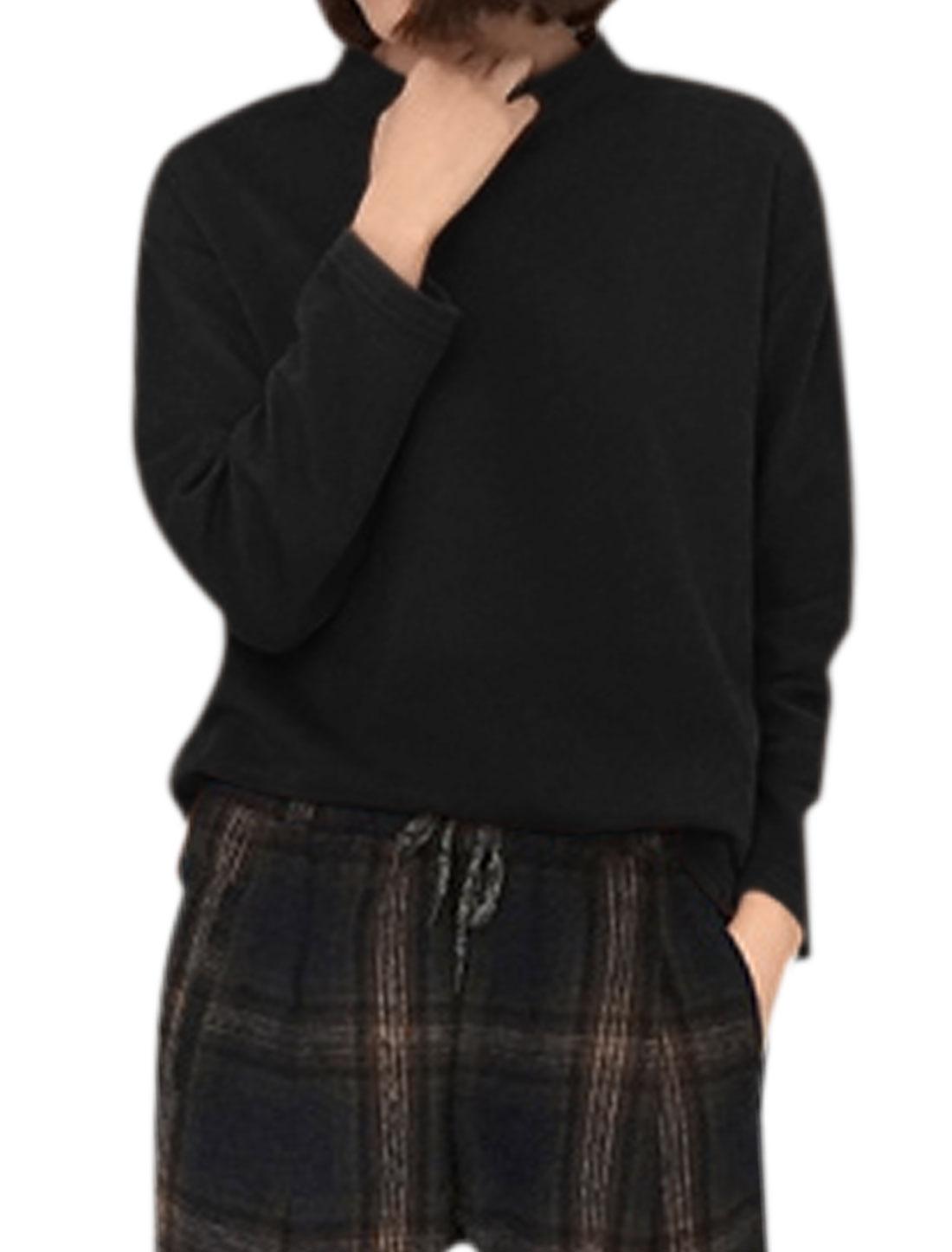 Ladies Long Sleeves Stand Collar Loose Tee Shirt Black S
