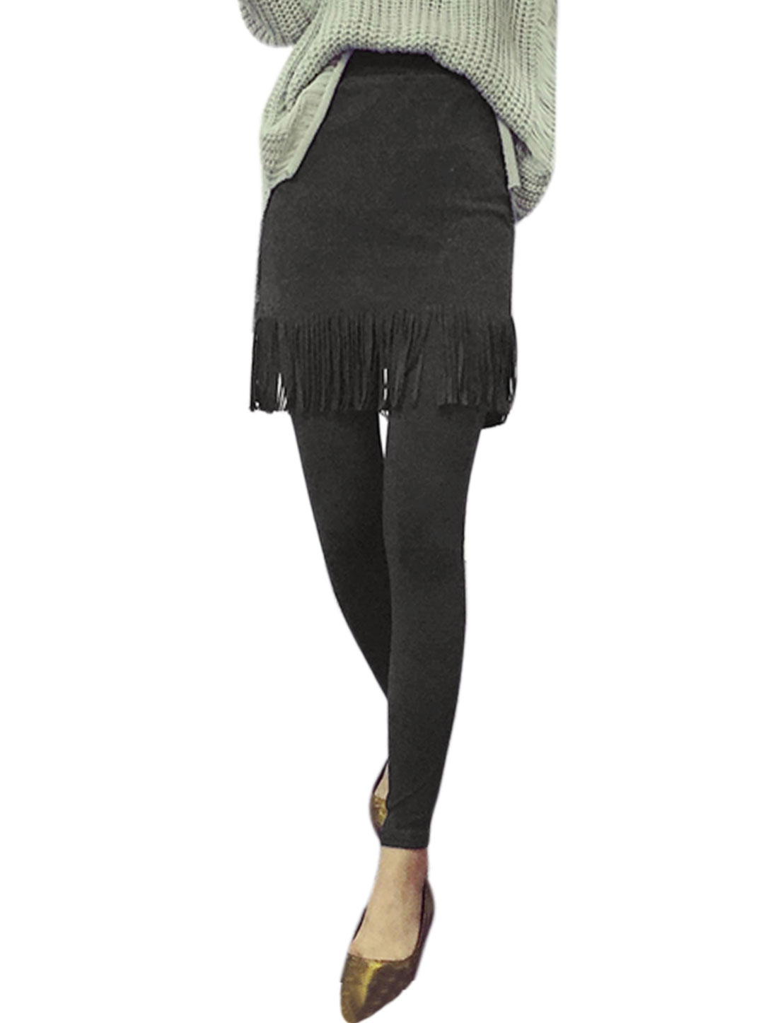 Women Elastic Waist Layered Tassels Skinny Skirt Leggings Gray XS