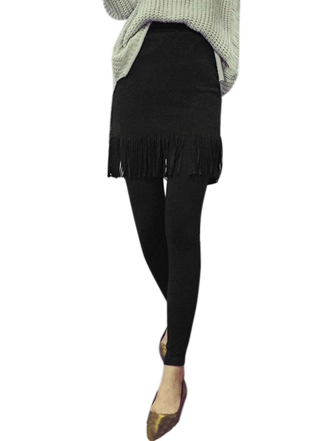 Women Elastic Waist Layered Tassels Skinny Skirt Leggings Black XS
