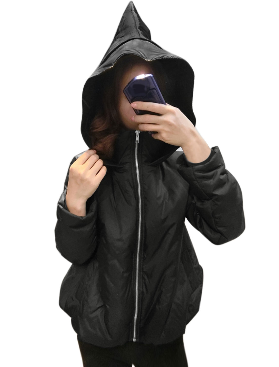Woman Collared Pointed Hood Zip Closed Padded Coat Black S