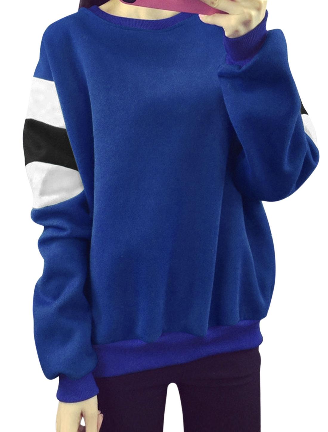 Women Color Block Loose Batwing Sweatshirt Blue XS