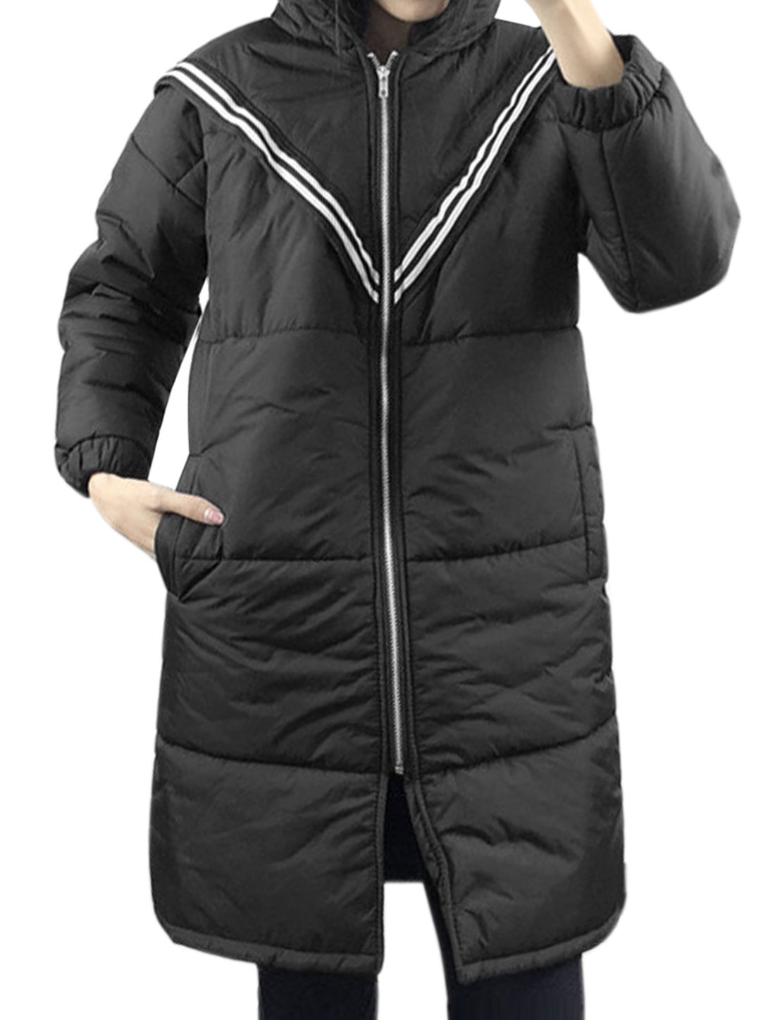 Women Hooded Slant Pockets Striped Tunic Padded Coat Black XS