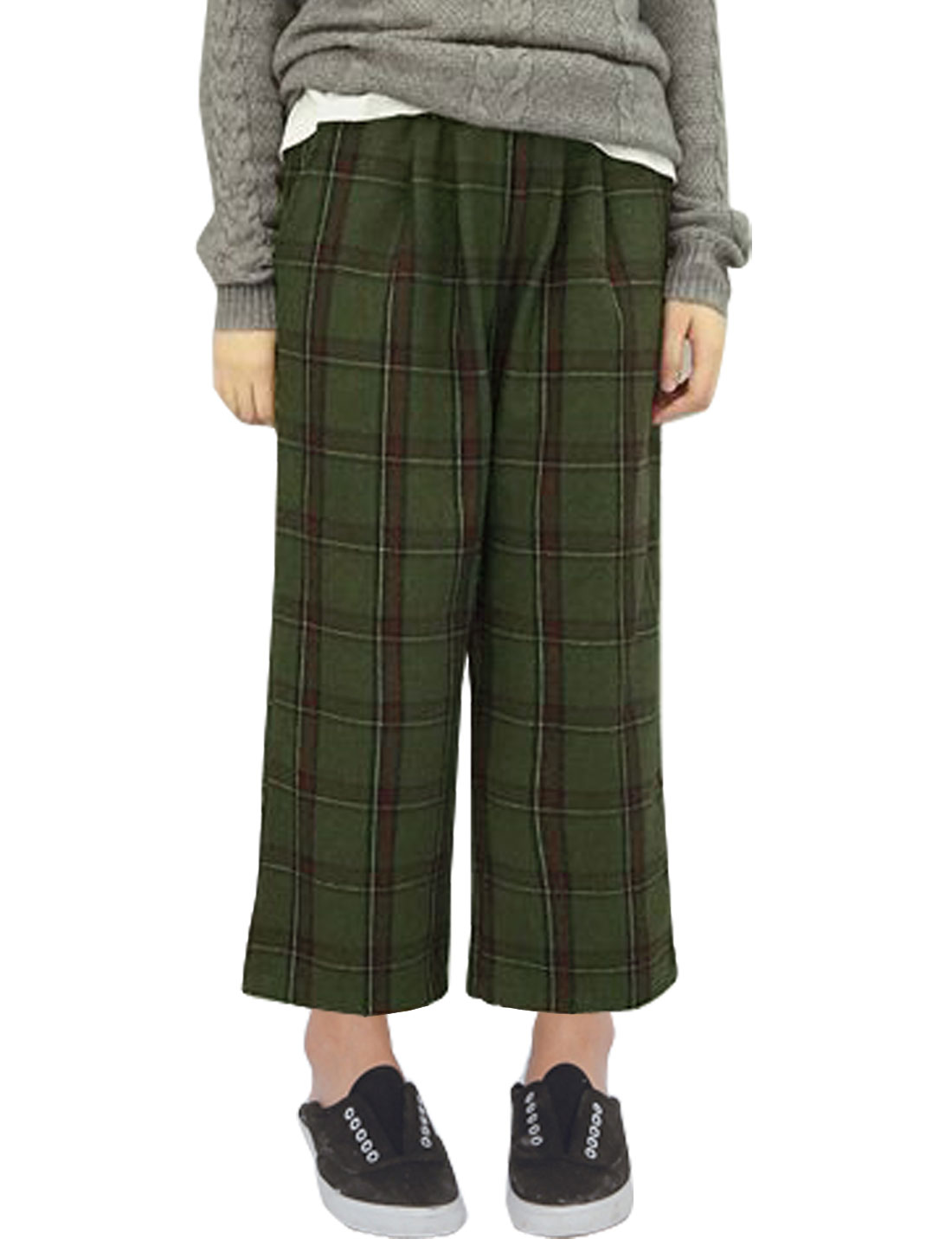 Women Elastic Waist Plaids Cropped Worsted Wide Leg Pants Green S