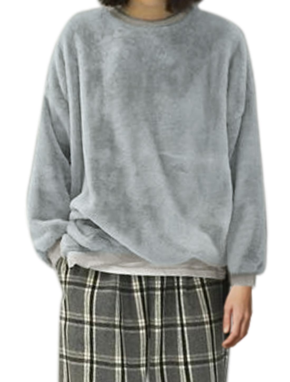 Ladies Zipper Side Loose Batwing Plush Sweatshirt Gray XS