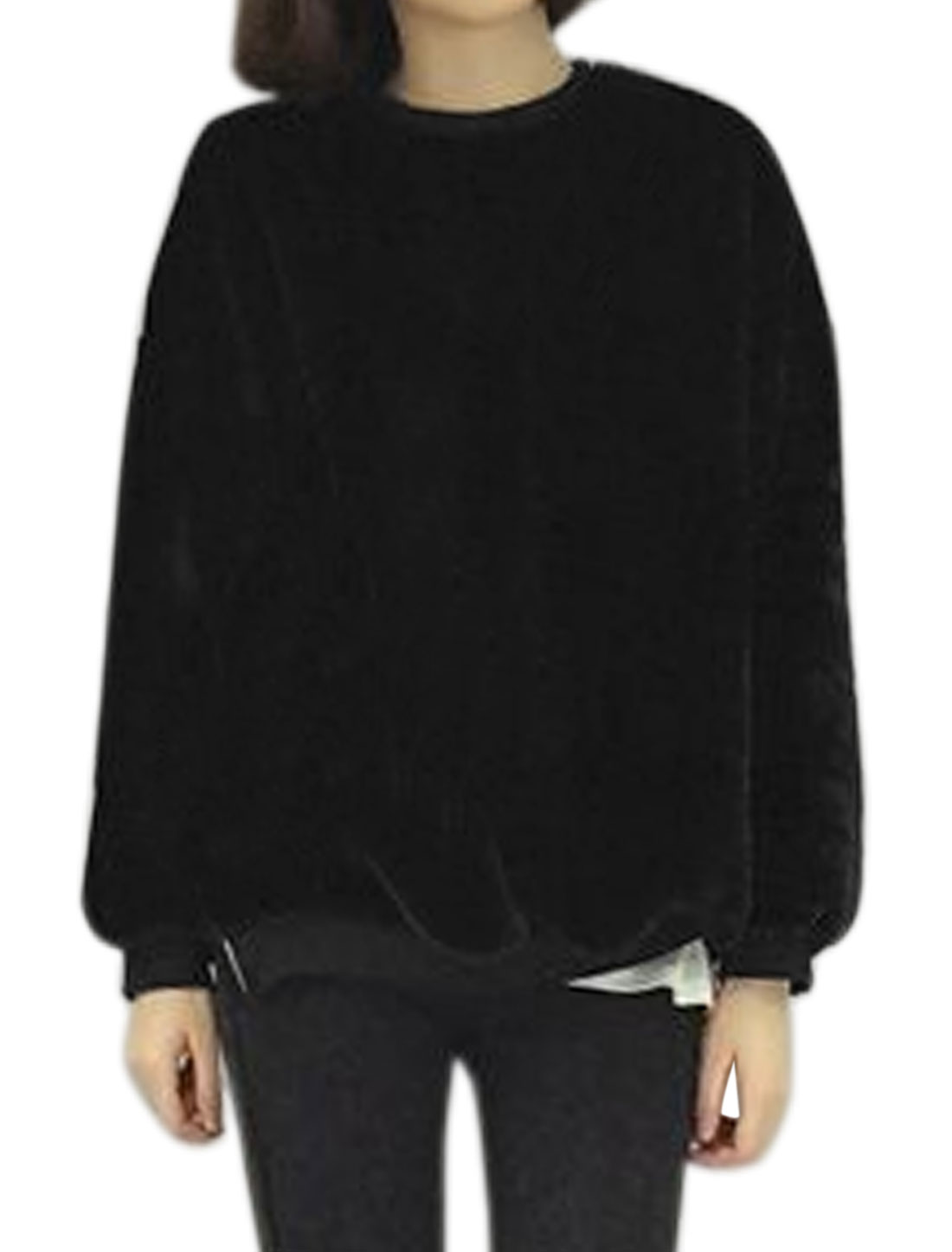 Ladies Zipper Side Loose Batwing Plush Sweatshirt Black XS
