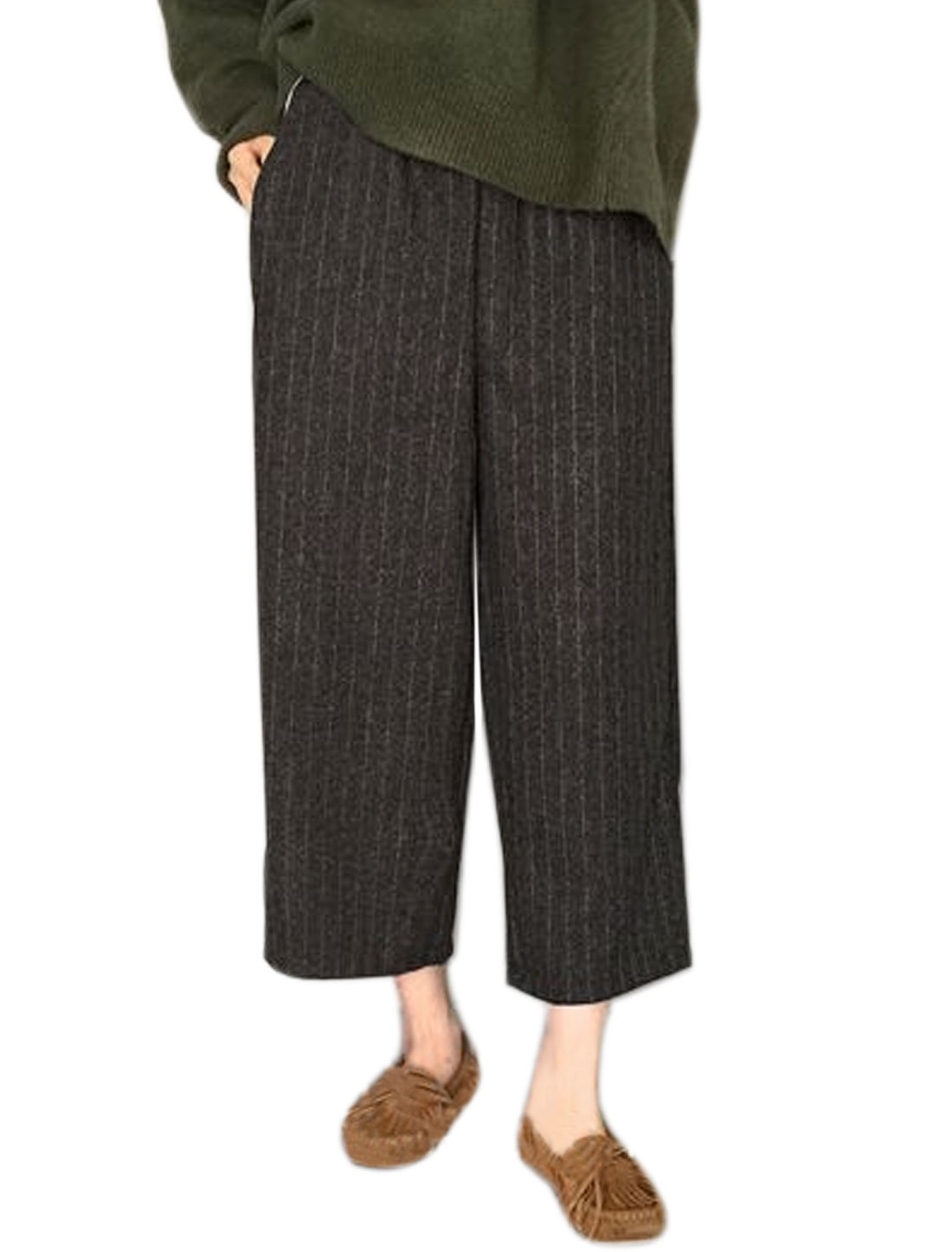 Ladies Elastic Waist Cropped Worsted Striped Culottes Black XS