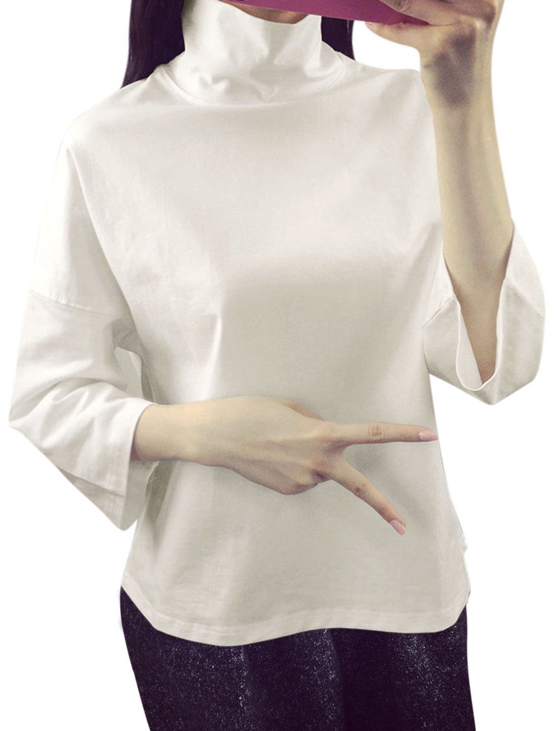 Women 3/4 Bat Sleeves Convertible Collar Tee Shirt White XS