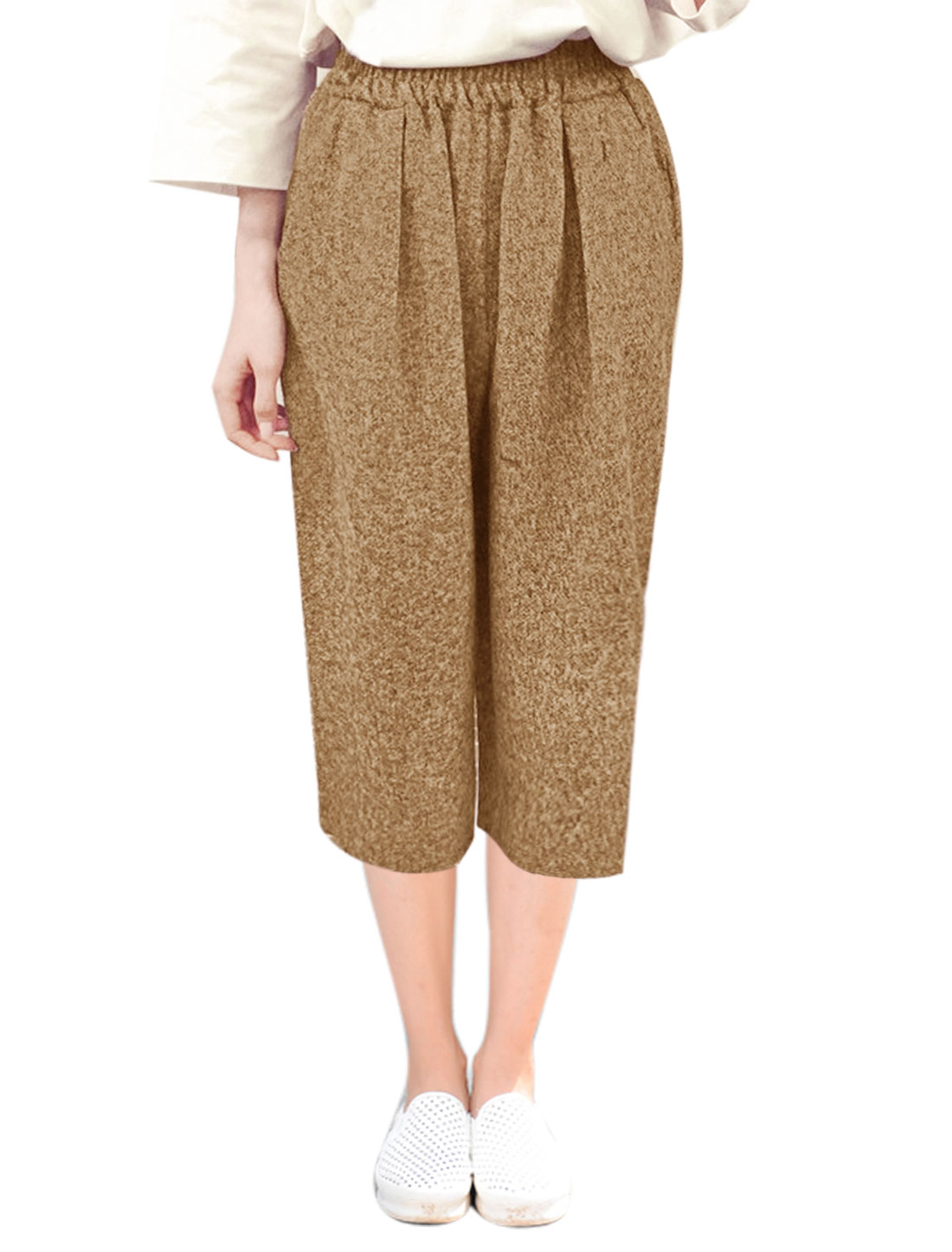 Ladies Stretchy Waist Capris Worsted Wide Leg Pants Beige XS