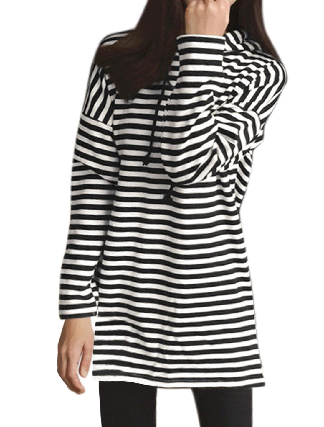 Ladies Stripes Hooded Tunic Sweatshirt Black White XS