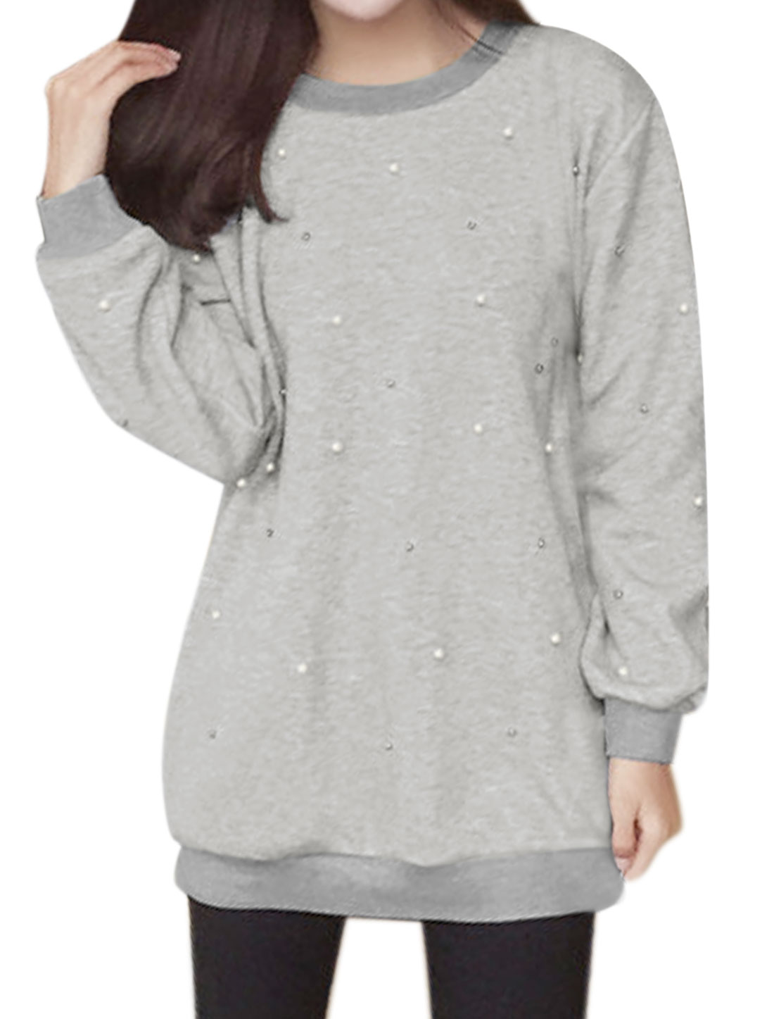 Ladies Beads Embellished Tunic Sweatshirt Gray S