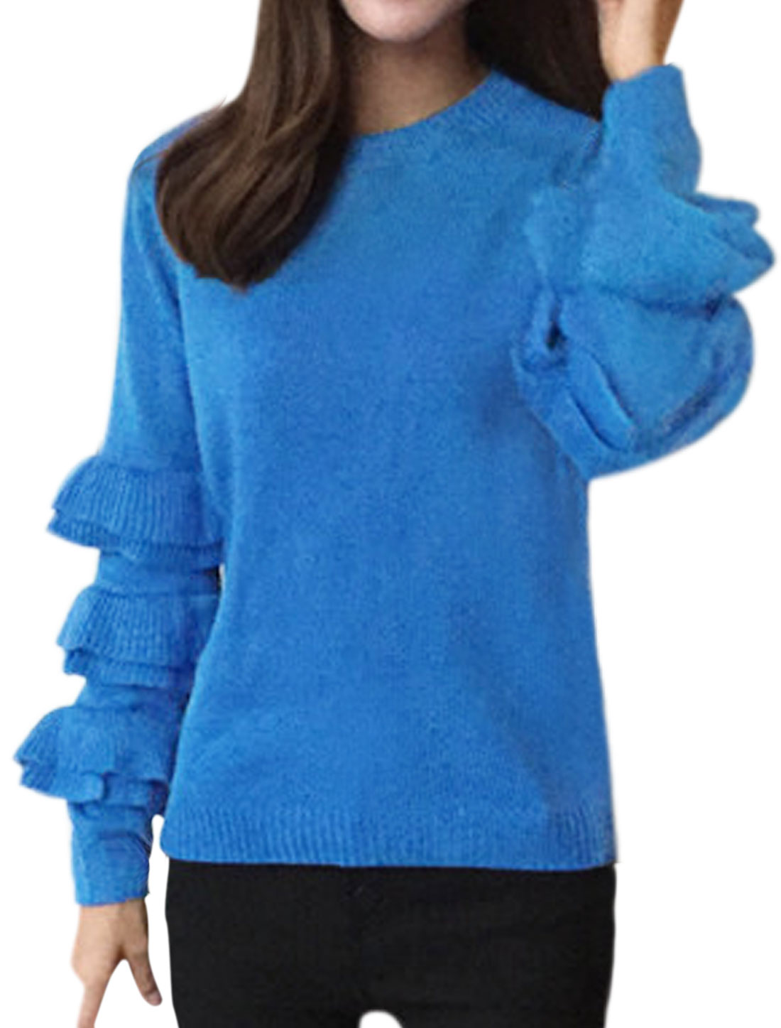 Ladies Crew Neck Tiered Sleeves Pullover Sweater Blue XS
