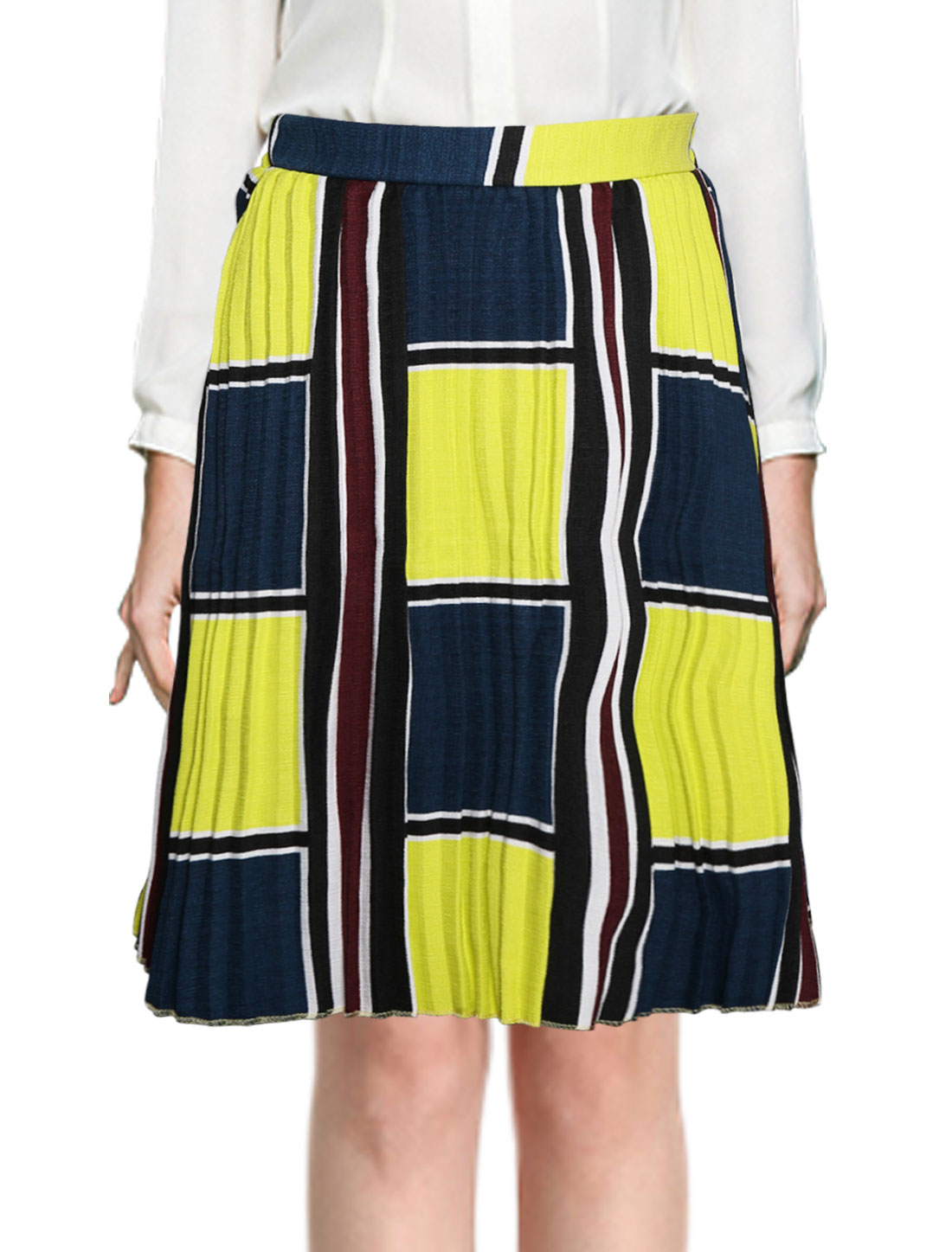 Ladies Color Block Geometric Pleated Skirt Yellow S