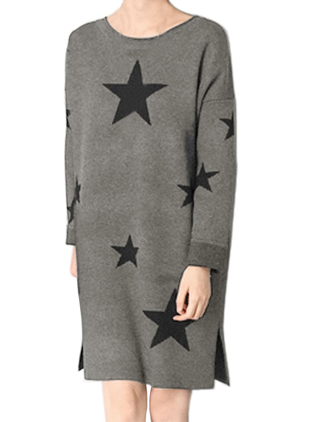 Women Stars Splits Sides Loose Tunic Sweater Dress Gray XS