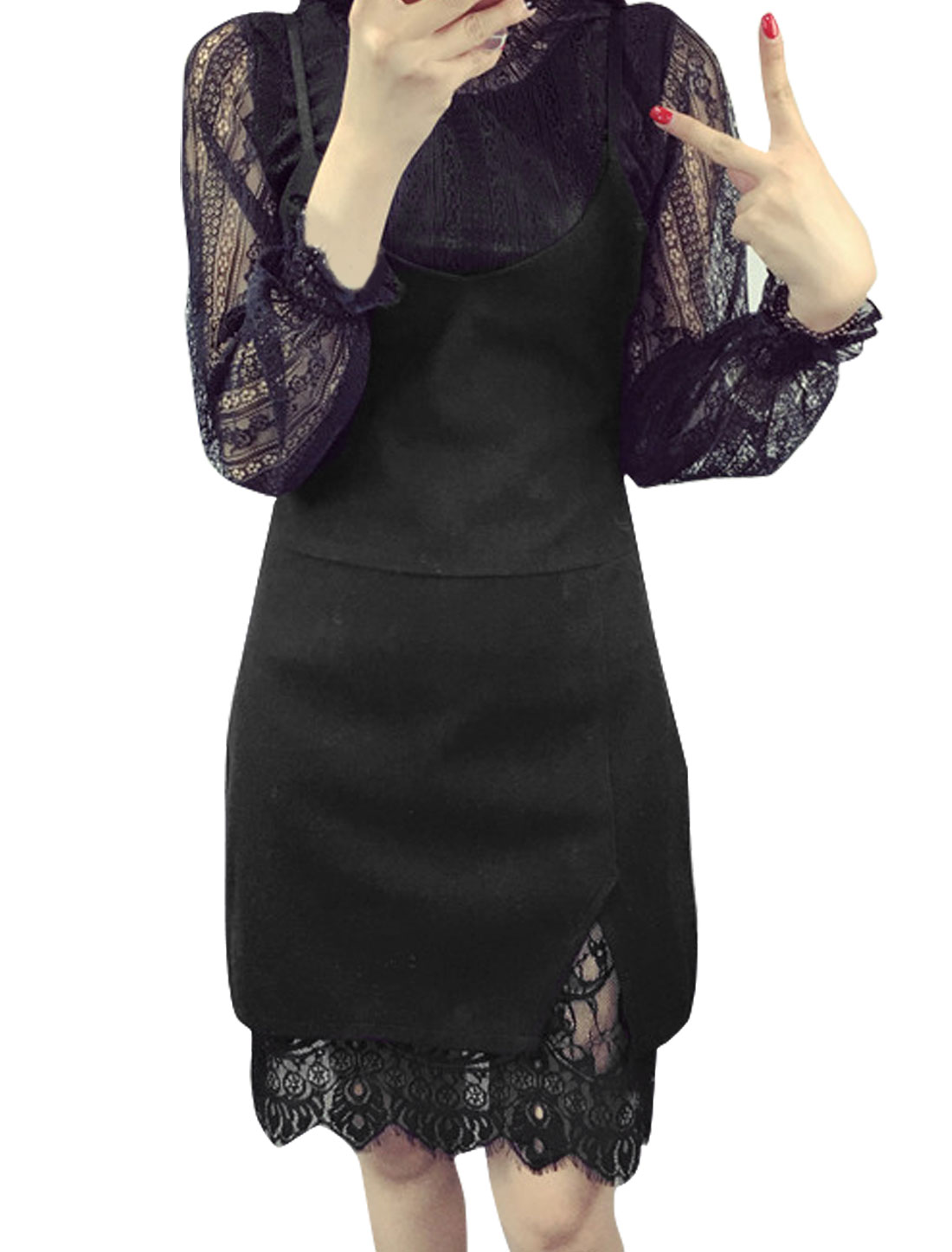 Women Split Side Layered Lace Worsted Suspender Skirt Black XS