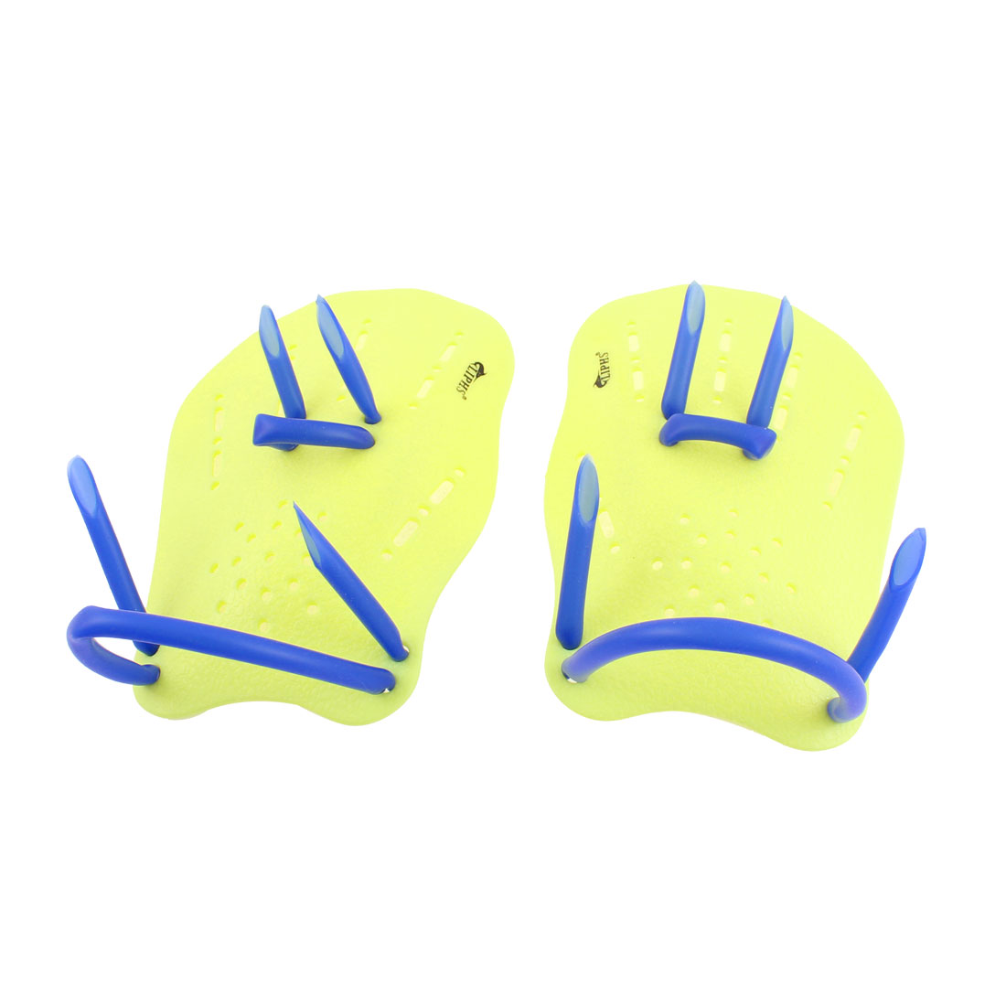 Rubber Strap Training Swimming Hand Paddles Webbed Gloves Yellow Pair