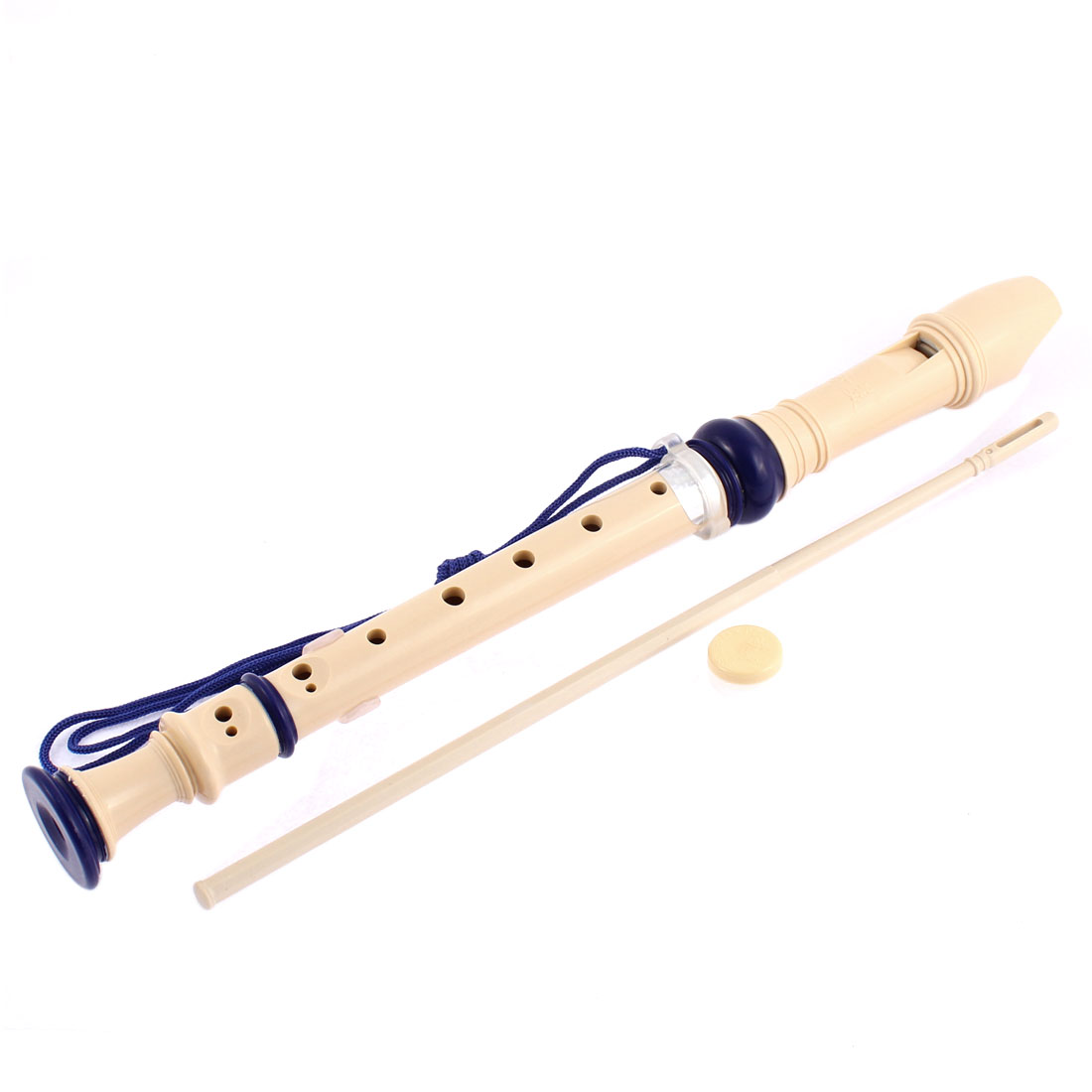 Practical White Plastic 8 Holes Flute Recorder w Cleaning Stick