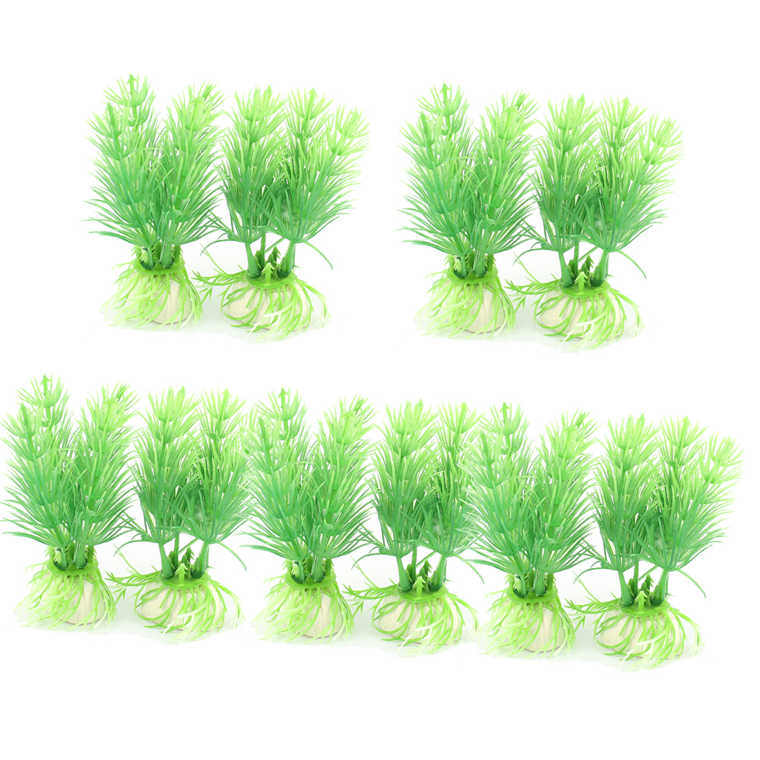 10pcs Green Ceramic Base Plastic Aquarium Plant Water Grass Ornament for Fishbowl Fish Tank