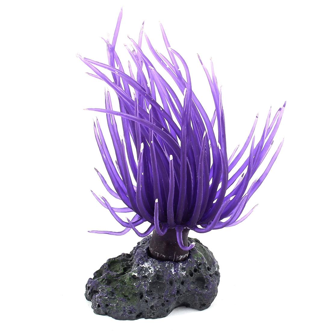 Purple Silicone Ceramic Base Artificial Aquarium Aquatic Coral Ornament for Fishbowl Fish Tank