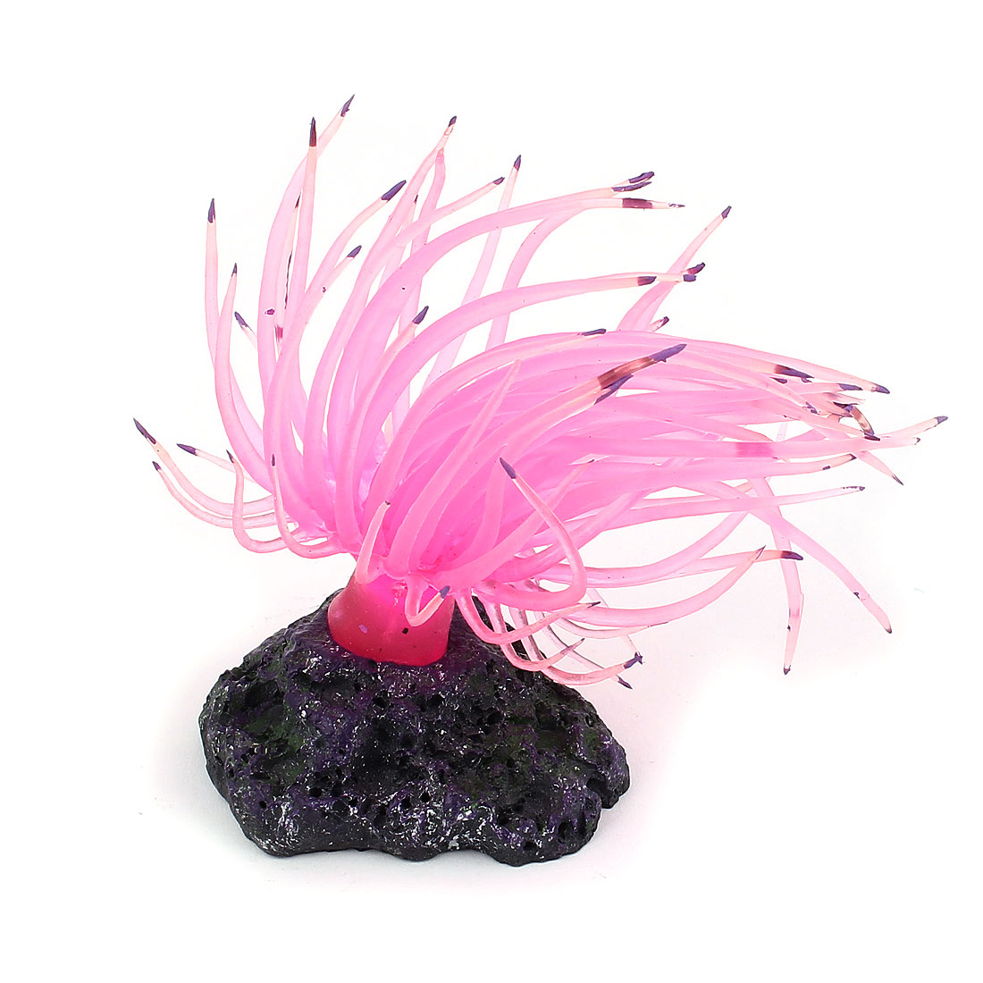 Pink Silicone Ceramic Base Aquarium Coral Ornament Underwater Plant for Fishbowl Fish Tank