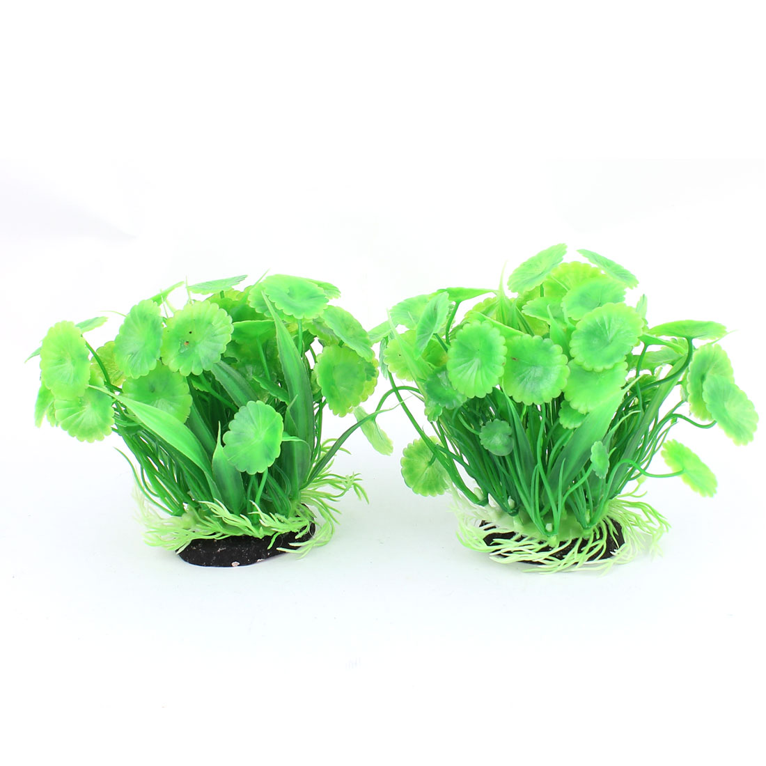 2pcs Green Plastic Manmade Ceramic Base Aquarium Plant Ornament for Fishbowl Fish Tank