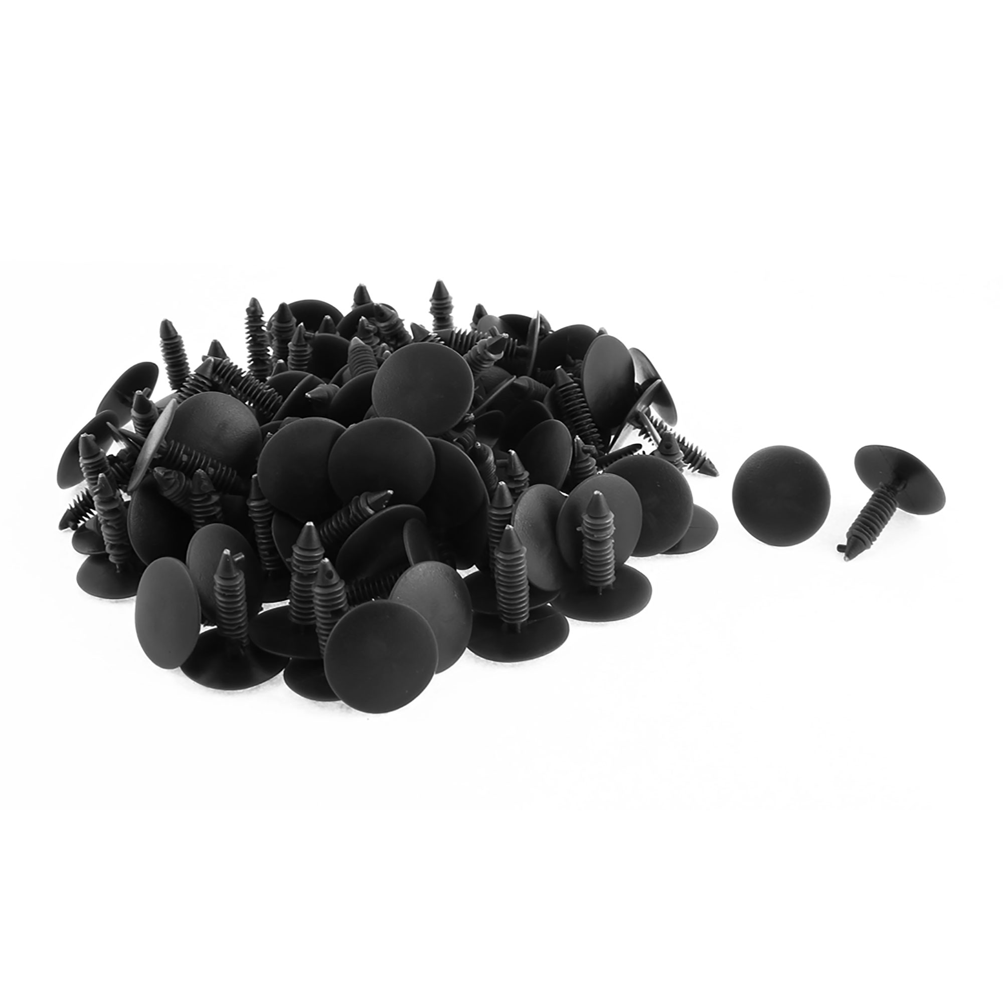 Car 7mm Hole Dia Black Plastic Rivets Bumper Push Clips Fasteners 100pcs