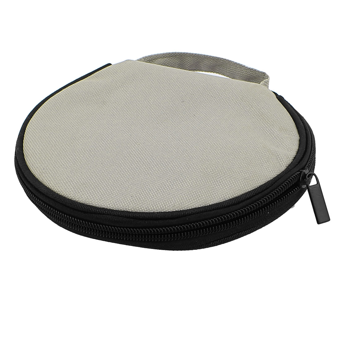 Zipper Closure Round CD Discs Holder Bag Storage Carry Case Cover Wallet Gray