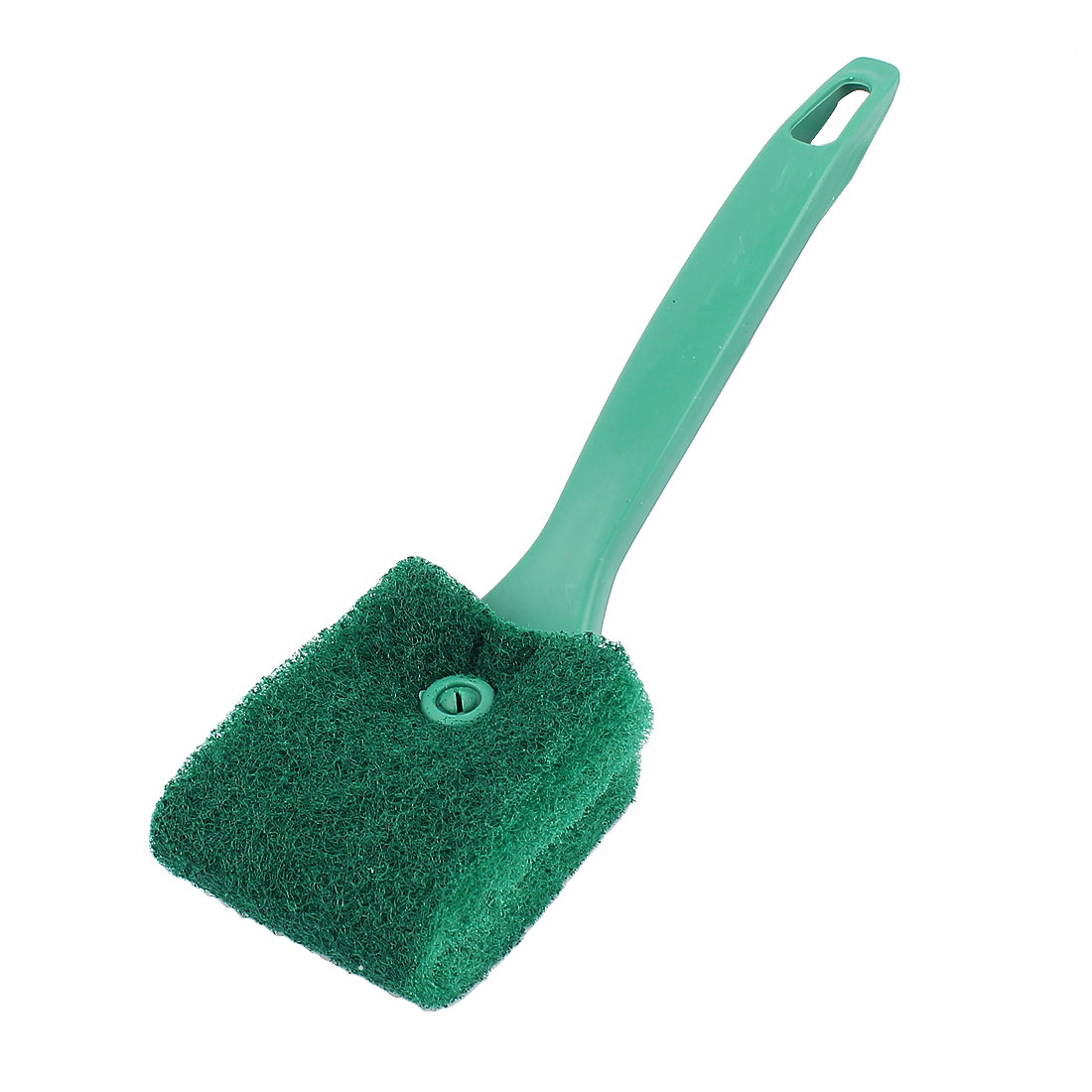Green Plastic Handle Aquarium Algae Glass Dual Side Sponge Clean Brush Scrubber Cleaner